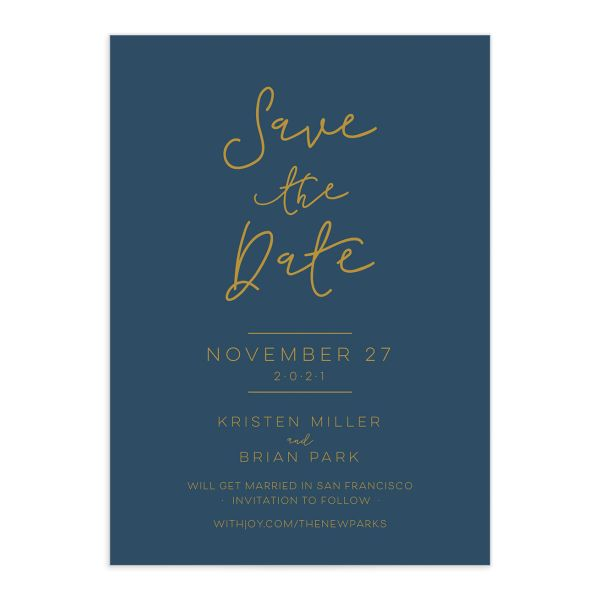 Gold Calligraphy Save the Date closeup blue front