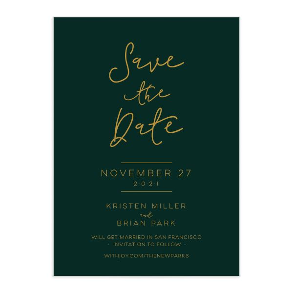 Gold Calligraphy Save the Date closeup green front