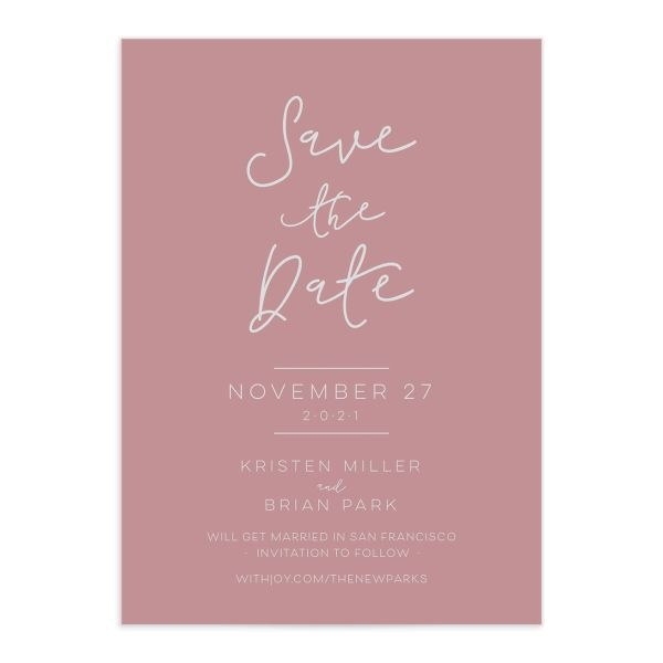 Gold Calligraphy Save the Date closeup pink front