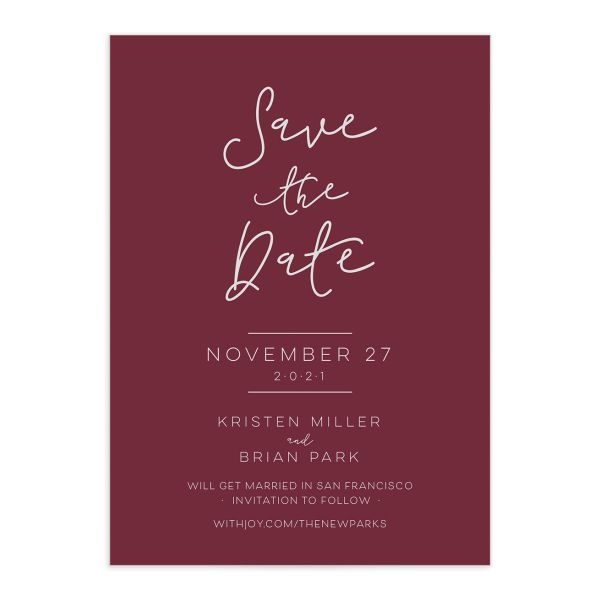 Gold Calligraphy Save the Date closeup red front