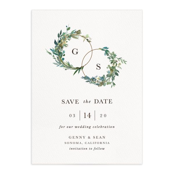Leafy Hoops Wedding Save the Date closeup