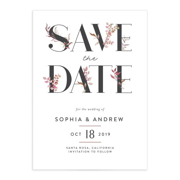 leafy ampersand save the dates in purple