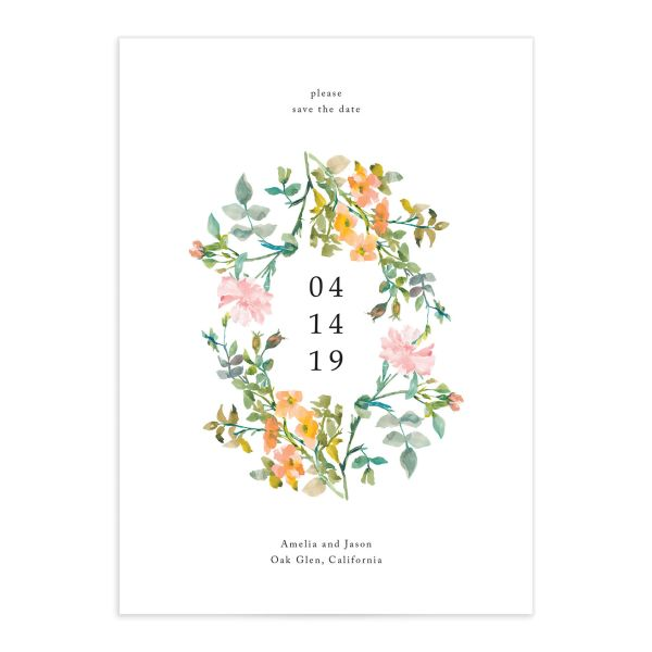 Minimal Floral wedding announcement closeup