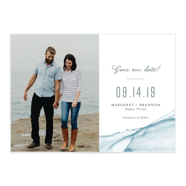 modern wave photo save the date cards
