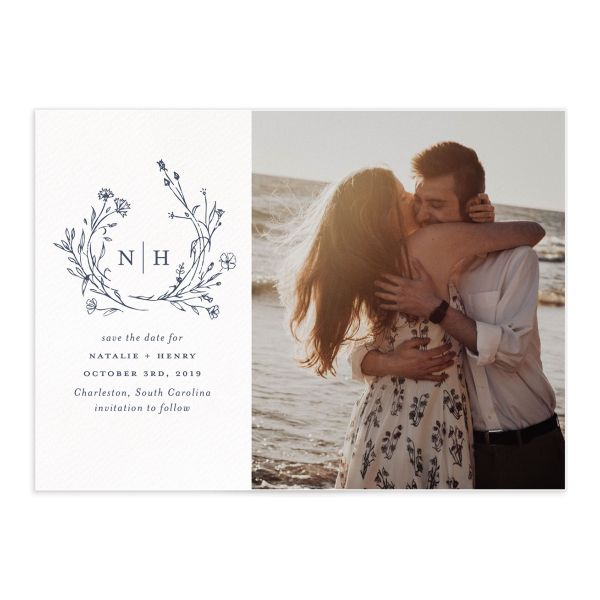 Natural Monogram photo save the date card in blue