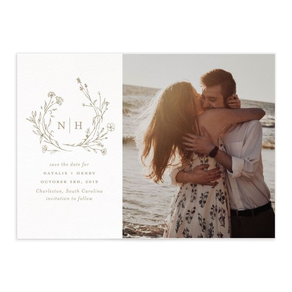 Natural Monogram photo save the date card in tan