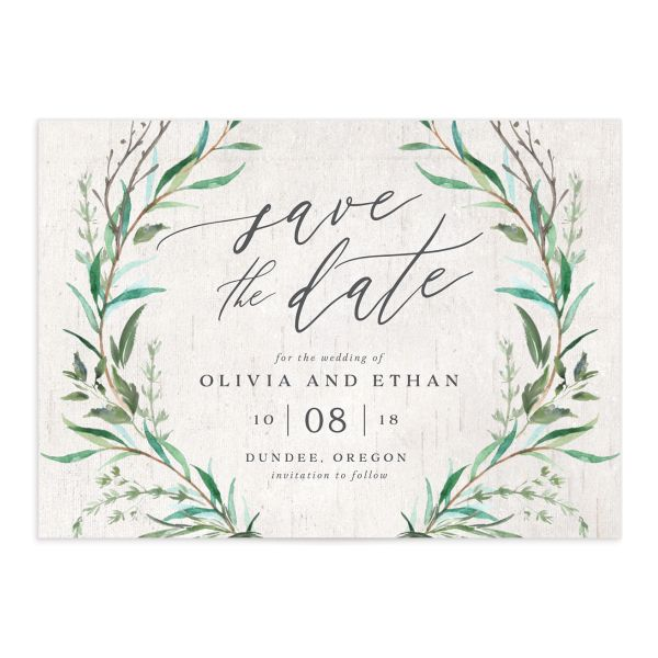 Natural Laurel save the date