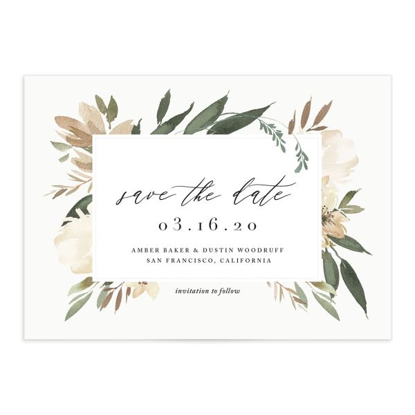 neutral greenery save the date postcards in green