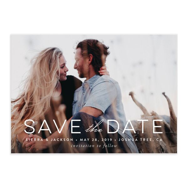 painted desert photo save the date cards in purple