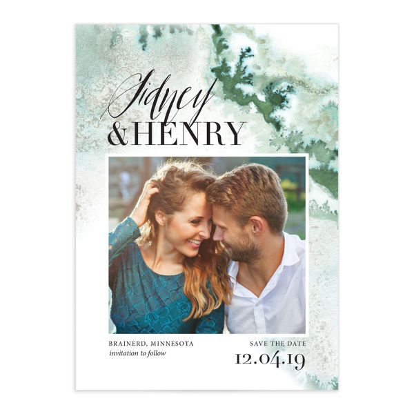 painted ethereal modern photo save the date cards