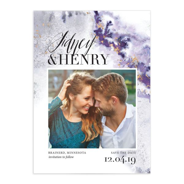 painted ethereal modern photo save the date cards in purple