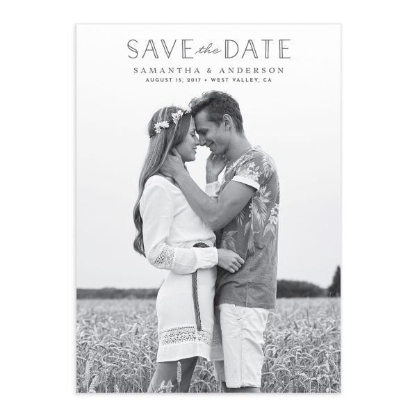 Romantic Garland Photo Save the Dates front