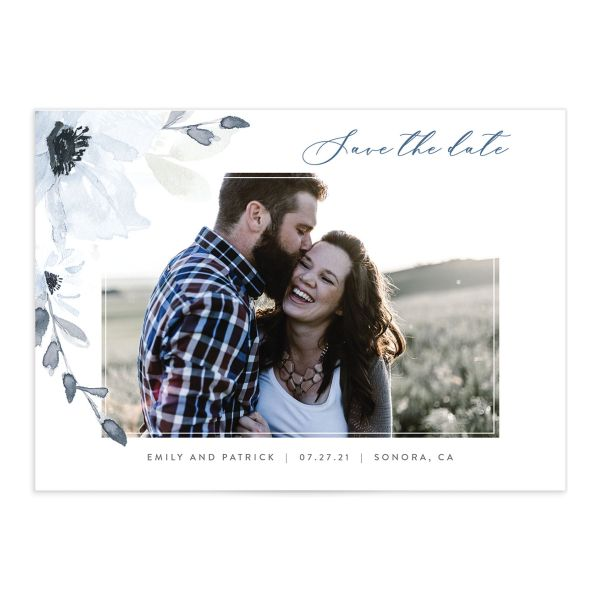 Shades of Blue Photo Save the Date Cards