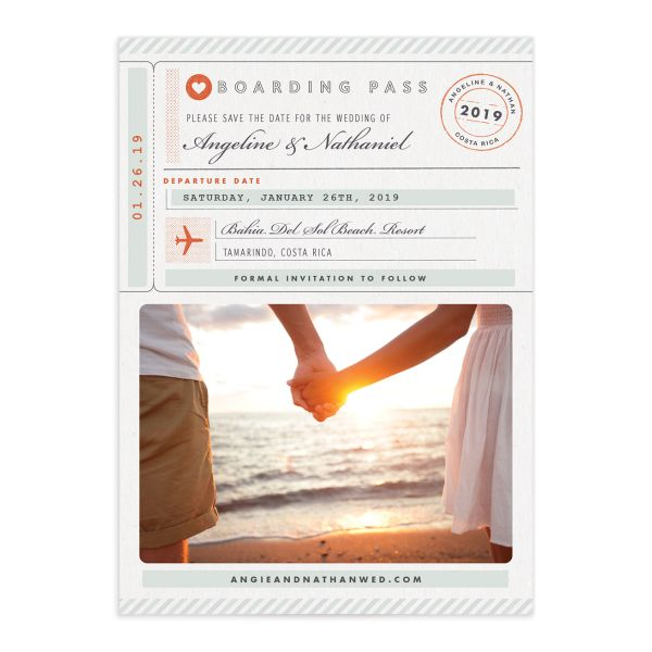 Vintage Boarding Pass save the date front green