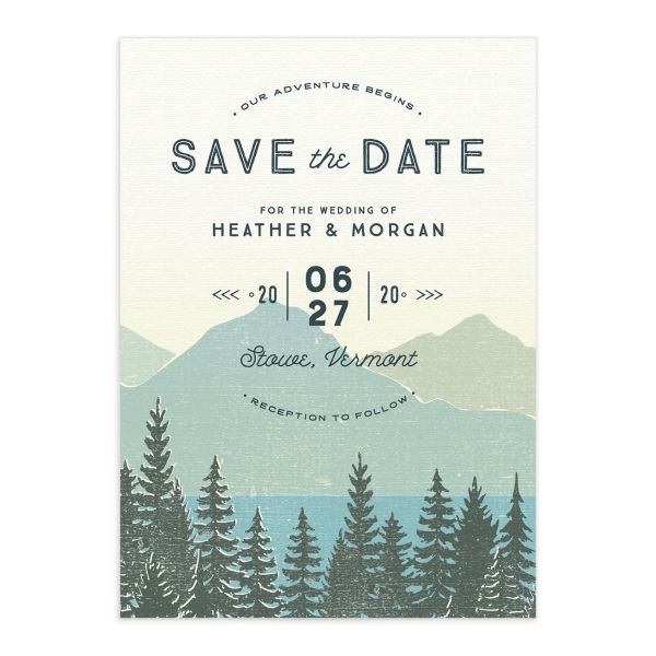 Vintage Mountainside save the date closeup