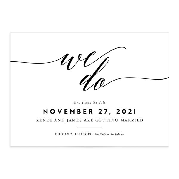We Do Wedding Save the Dates black front