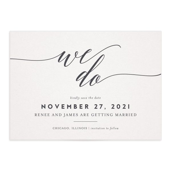 We Do Wedding Save the Dates grey front