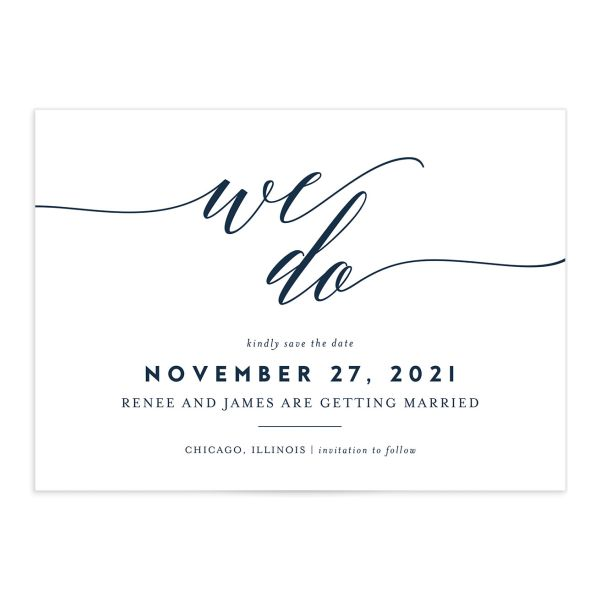 We Do Wedding Save the Dates navy front