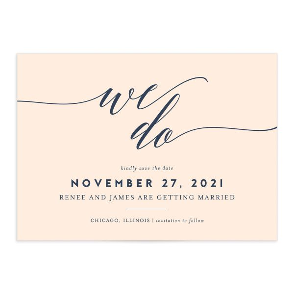 We Do Wedding Save the Dates pink front