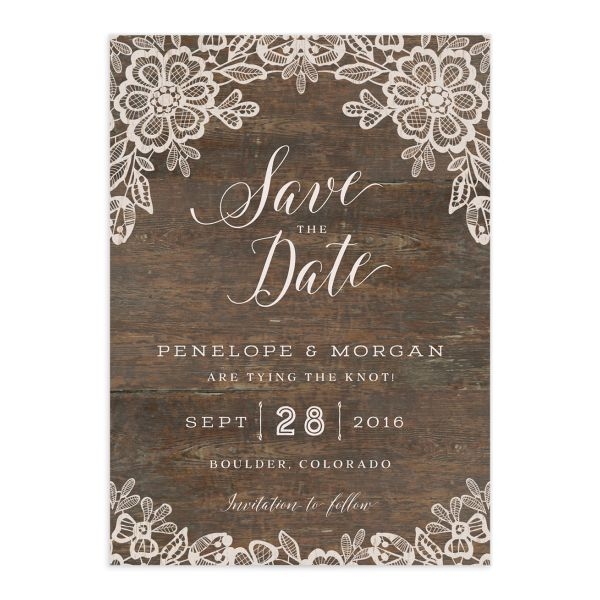 Woodgrain Lace save the date