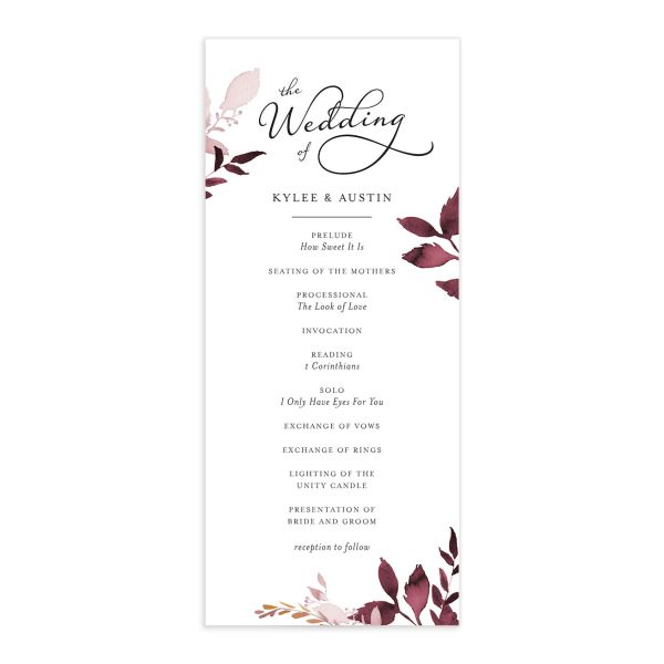 leafy frame wedding programs in burgundy
