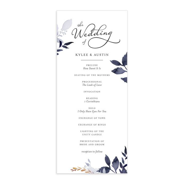 leafy frame wedding programs in navy
