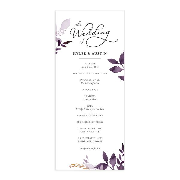 leafy frame wedding programs in purple