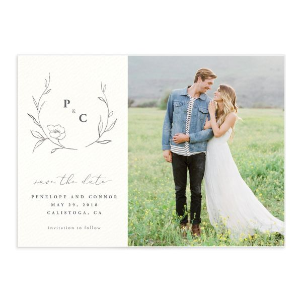 graceful botanical photo save the date cards in grey