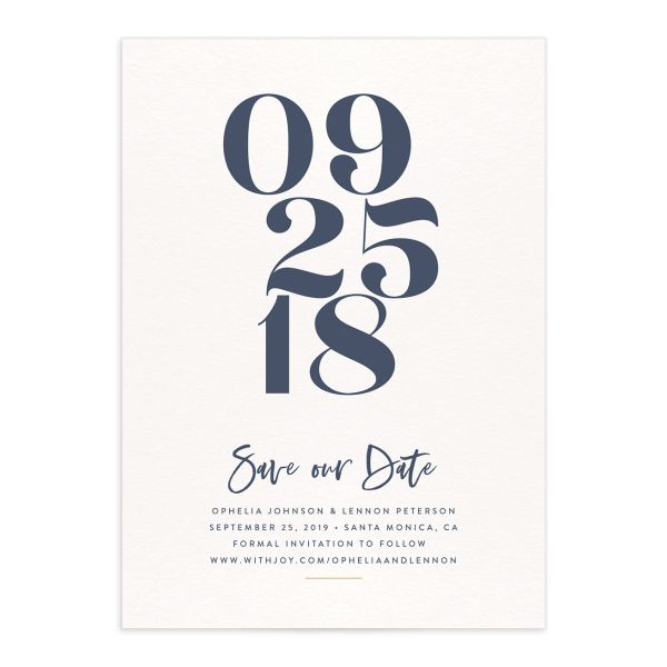 modern luxe save the dates in blue