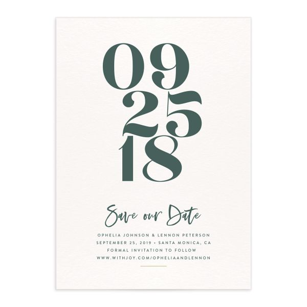 modern luxe save the dates in green