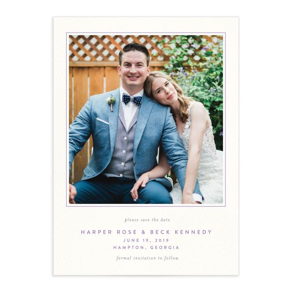 watercolor crest photo save the dates in purple