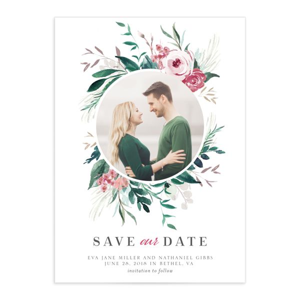 wild wreath photo save the dates in green
