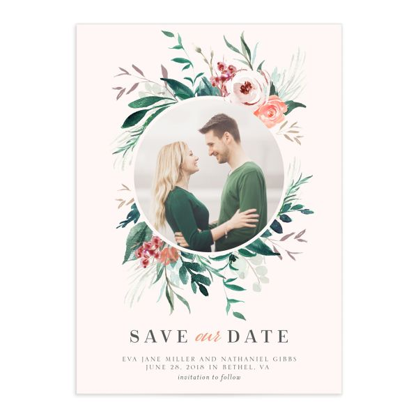 Wild wreath photo save the date cards