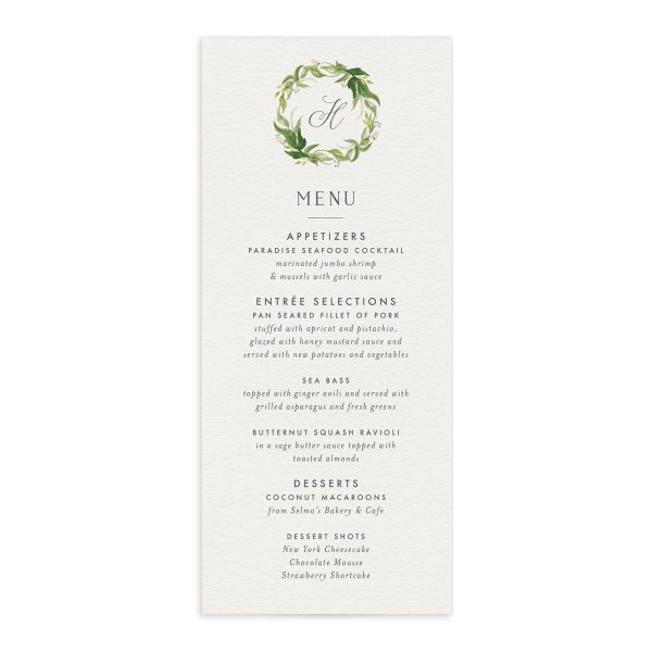 leafy wreath wedding menus in green
