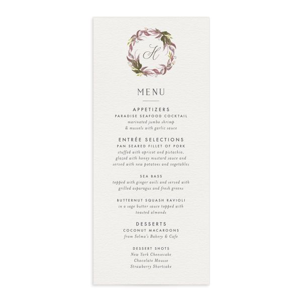 leafy frame wedding menus in purple