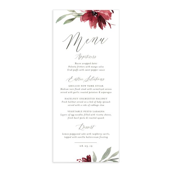muted floral menus in burgundy