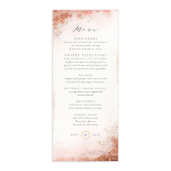 organic luxe menus in orange