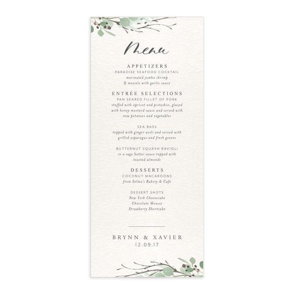 Rustic Botanical Wedding Menus