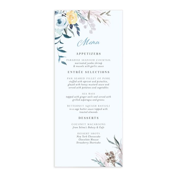 wild wreath menus in blue
