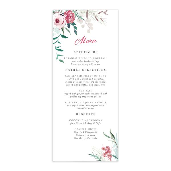 wild wreath menus in green