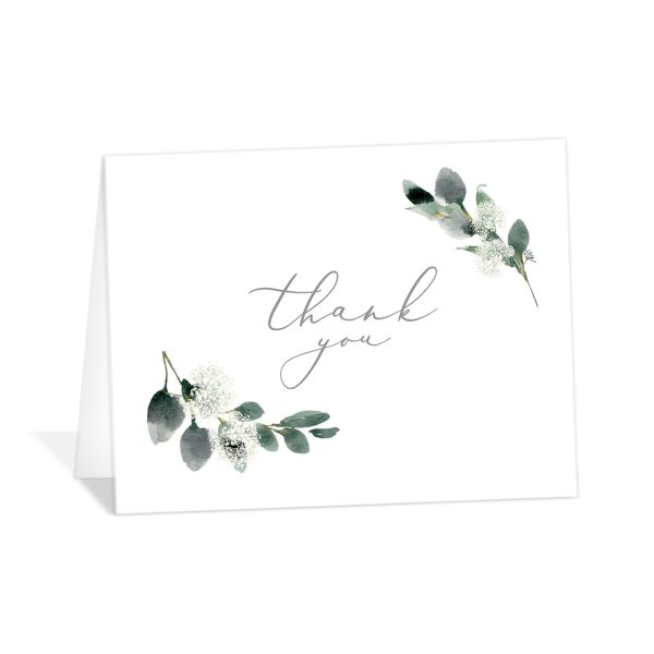 Elegant greenery folded thank you cards