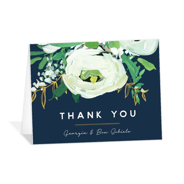Painted Greenery thank you card in navy