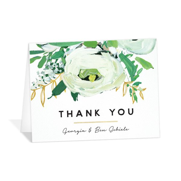 Painted Greenery thank you card in white