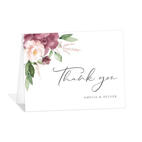 Beloved Floral Thank You Cards in purple