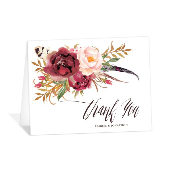 bohemian floral wedding thank you cards in burgundy
