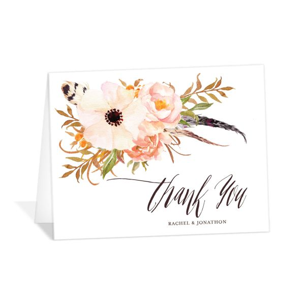 bohemian floral wedding thank you cards in orange