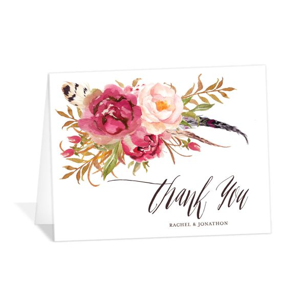 bohemian floral wedding thank you cards in pink