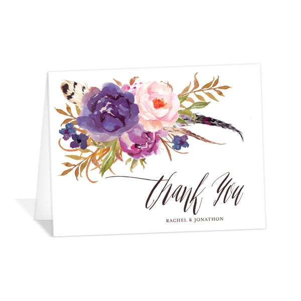 bohemian floral wedding thank you cards in purple