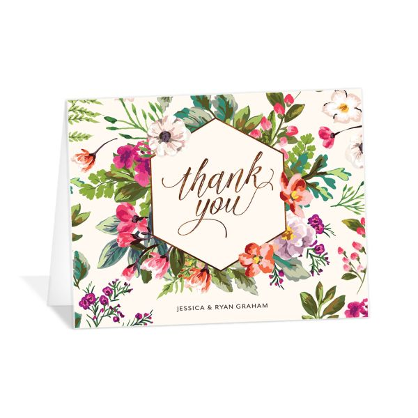 Bronze Floral Frame Thank You Cards front