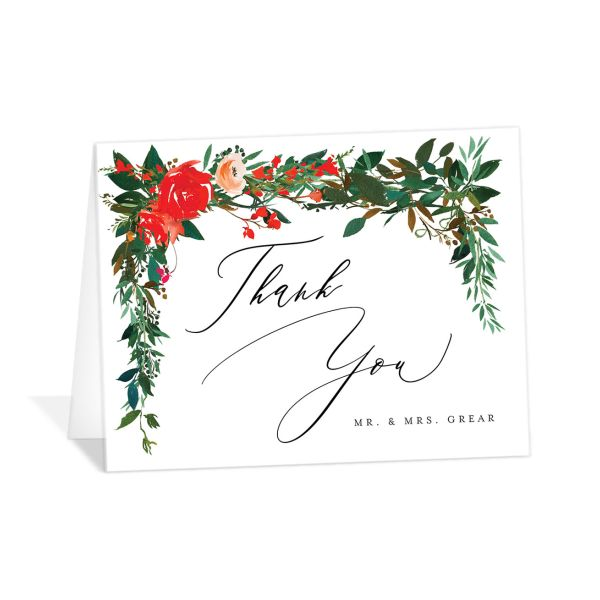 Cascading Altar folded thank you cards bright red